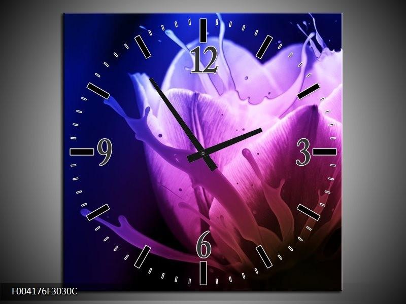 Wandklok op Canvas Tulp | Kleur: Blauw, Paars, Roze | F004176C