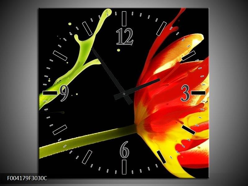 Wandklok op Canvas Tulp | Kleur: Rood, Zwart, Groen | F004179C
