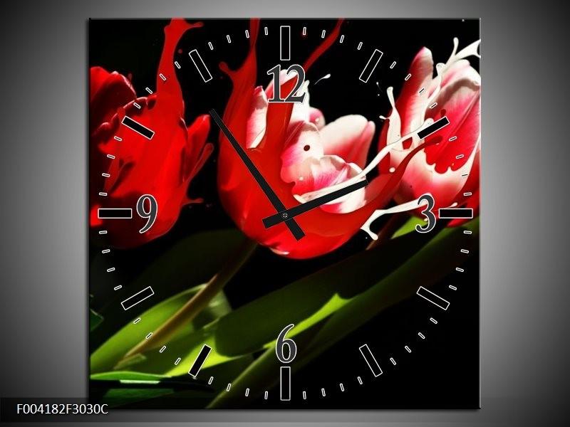 Wandklok op Canvas Tulp | Kleur: Rood, Wit, Zwart | F004182C