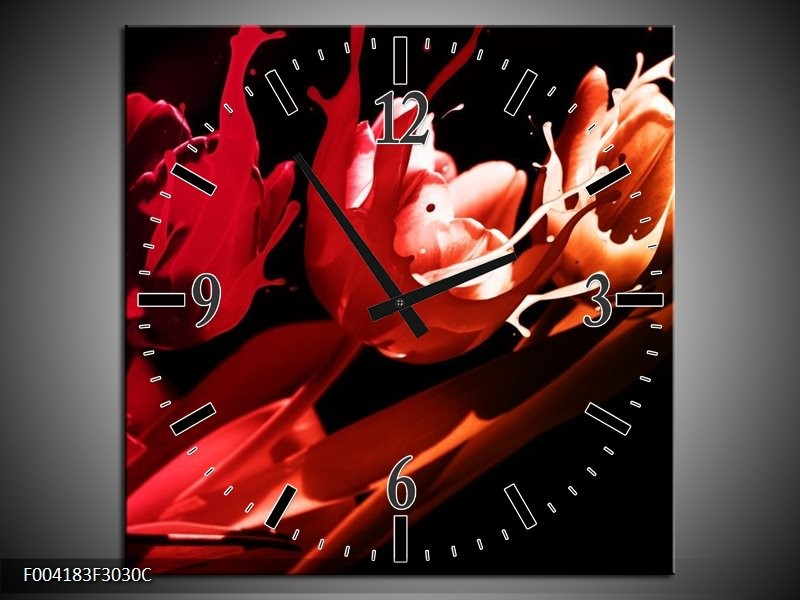 Wandklok op Canvas Tulp | Kleur: Rood, Oranje, Zwart | F004183C