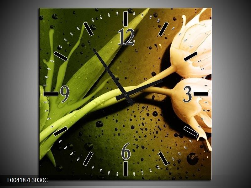 Wandklok op Canvas Tulp   Kleur: Groen, Wit, Bruin   F004187C