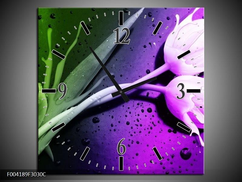 Wandklok op Canvas Tulp | Kleur: Paars, Groen | F004189C