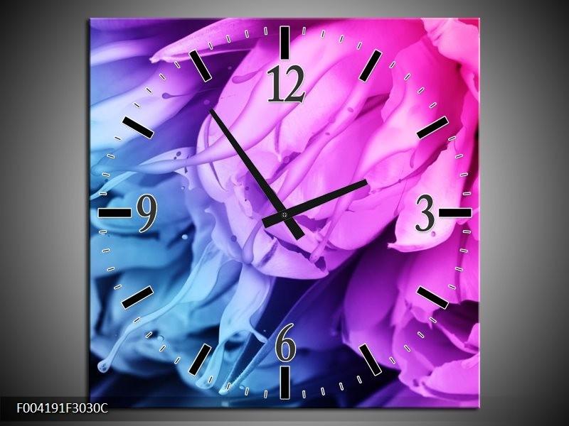 Wandklok op Canvas Tulp | Kleur: Blauw, Paars | F004191C