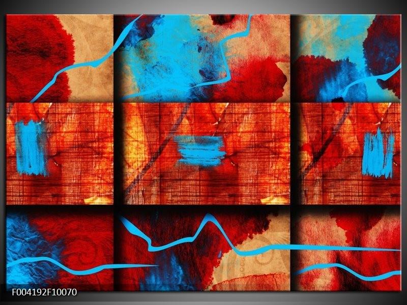 Glas schilderij Abstract | Blauw, Oranje, Rood