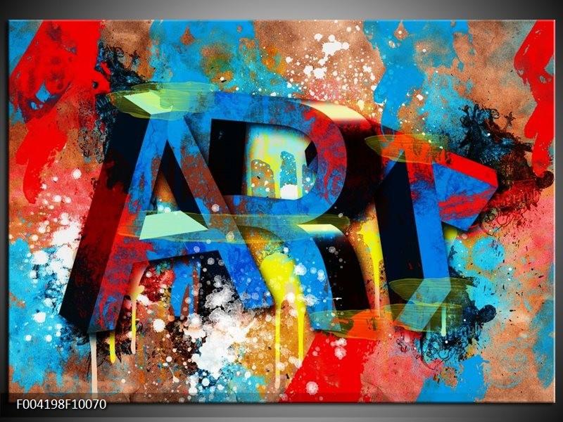 Foto canvas schilderij Abstract   Blauw, Geel, Rood