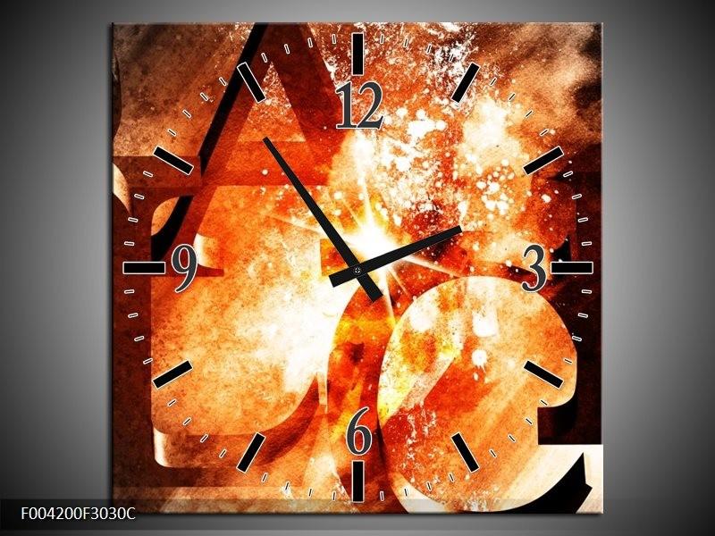 Wandklok op Canvas Abstract   Kleur: Geel, Oranje, Bruin   F004200C