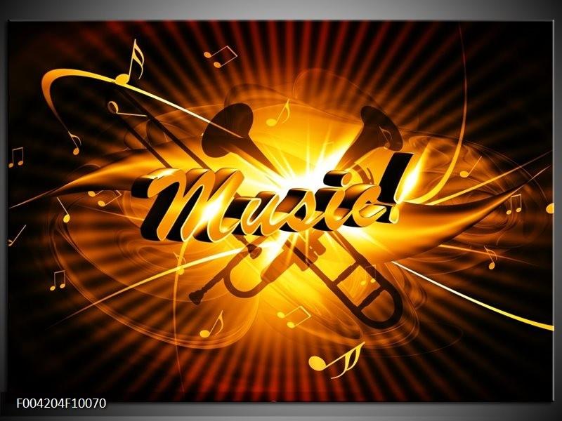 Glas schilderij Muziek   Goud, Geel, Zwart