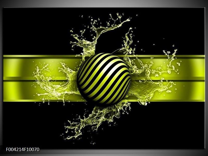 Glas schilderij Abstract | Groen, Zwart