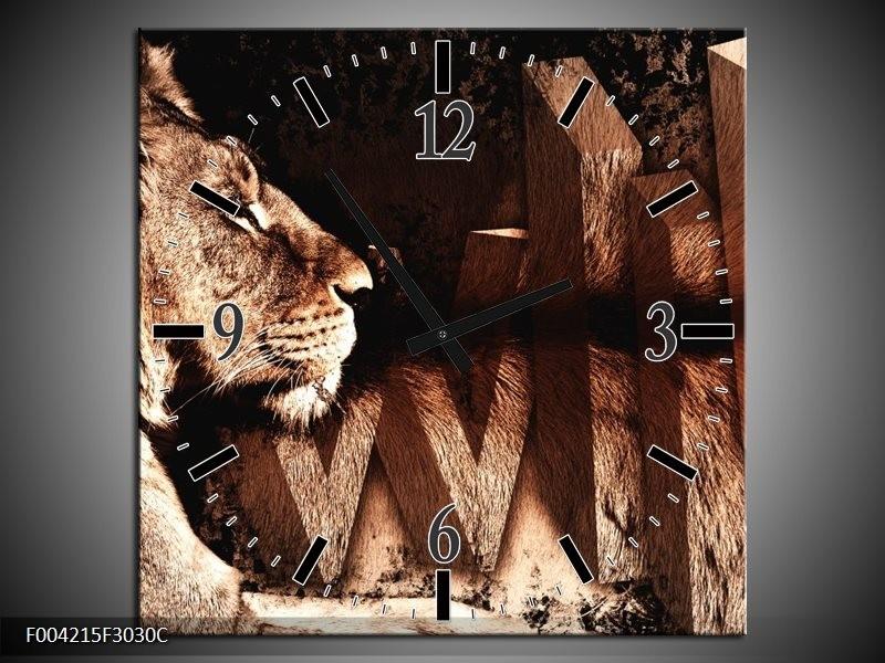Wandklok op Canvas Leeuw | Kleur: Bruin, Zwart | F004215C