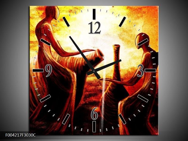 Wandklok op Canvas Engel   Kleur: Geel, Oranje, Rood   F004217C