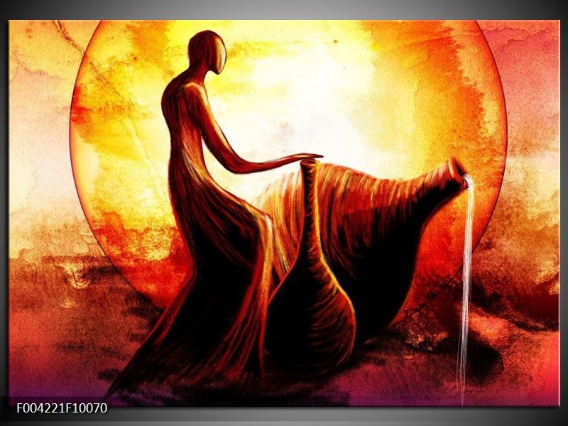 Foto canvas schilderij Engel | Geel, Oranje, Rood