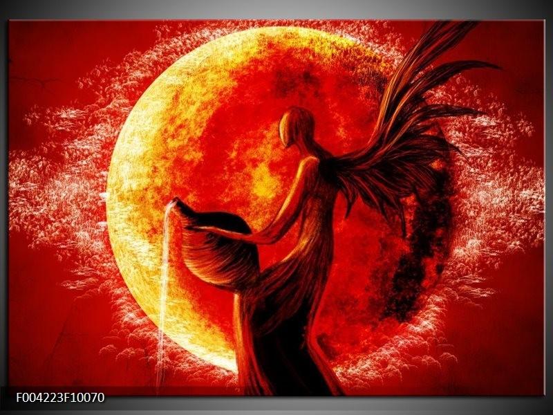 Foto canvas schilderij Engel   Geel, Oranje, Rood