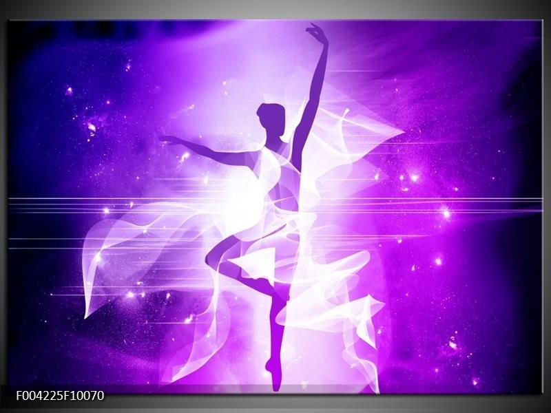 Glas schilderij Dansen | Paars, Wit