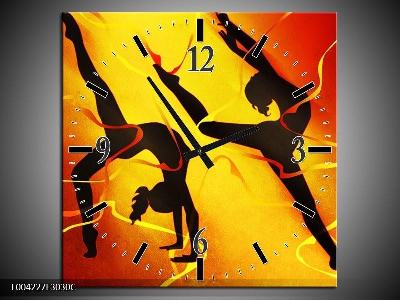 Wandklok op Canvas Dansen | Kleur: Oranje, Rood, Geel | F004227C