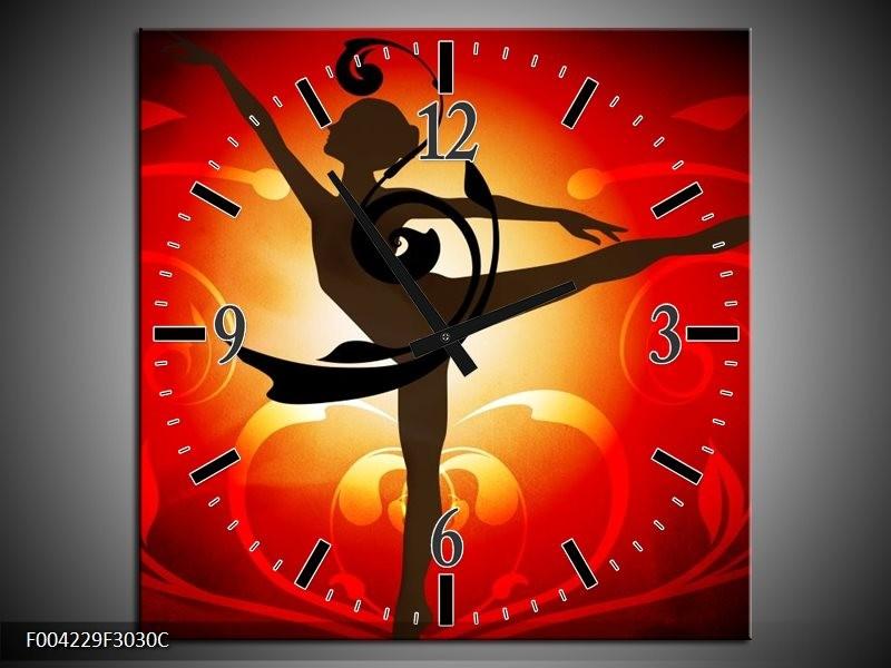 Wandklok op Canvas Dansen | Kleur: Oranje, Rood, Geel | F004229C
