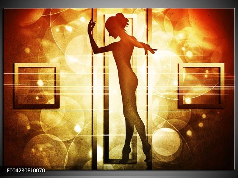 Glas schilderij Dansen | Geel, Wit, Bruin