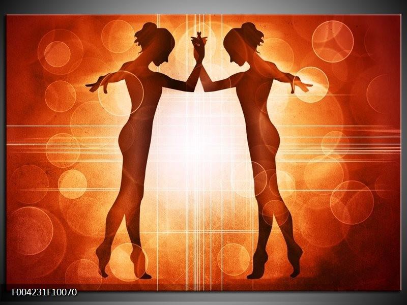 Glas schilderij Dansen | Rood, Wit, Bruin