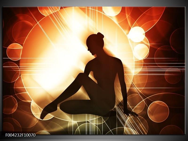 Glas schilderij Dansen | Bruin, Wit, Geel