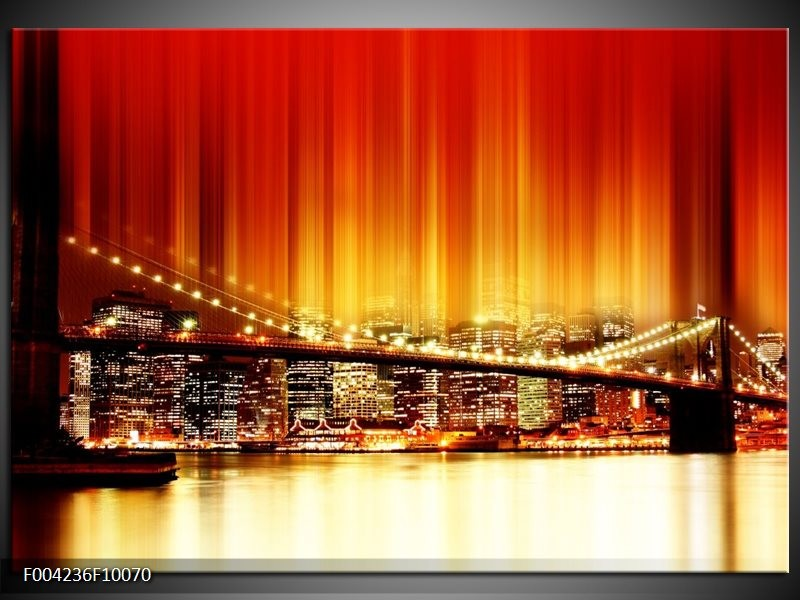 Glas schilderij Brug | Rood, Geel, Zwart