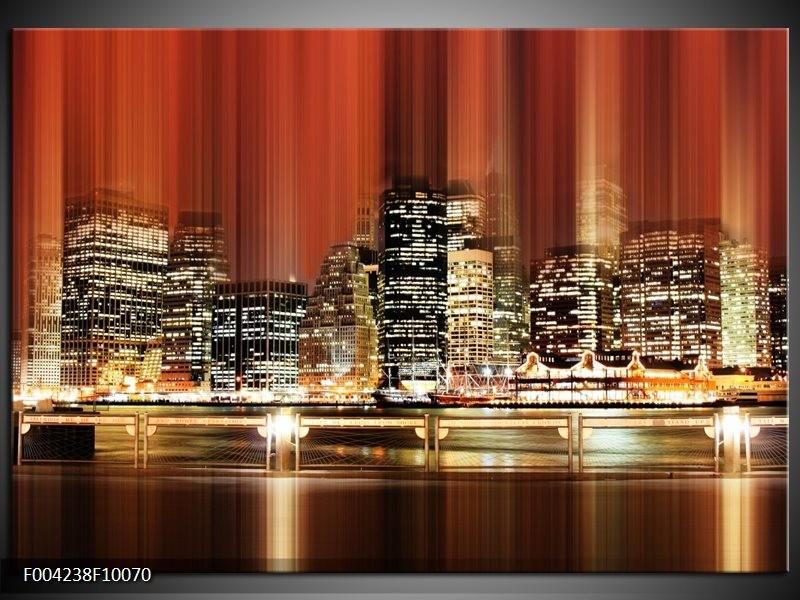 Foto canvas schilderij Nacht   Rood, Geel, Bruin