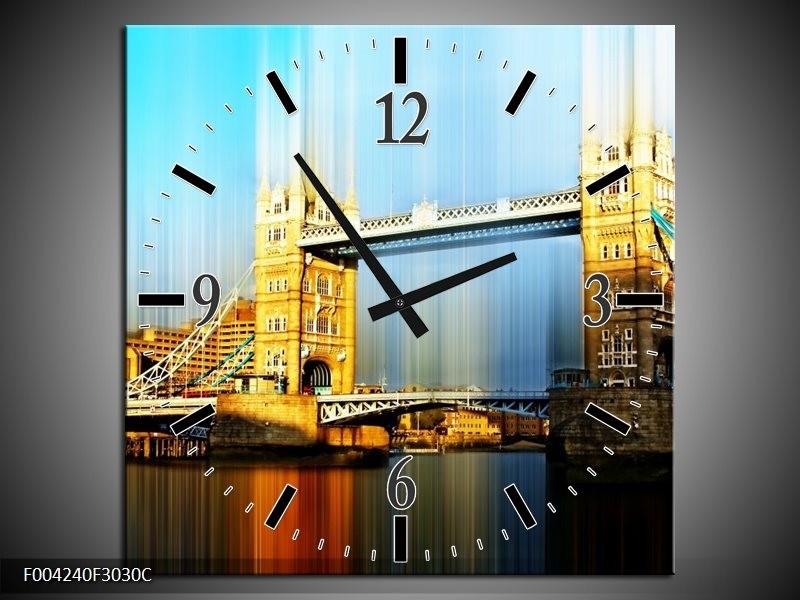 Wandklok op Canvas London | Kleur: Geel, Blauw, Grijs | F004240C