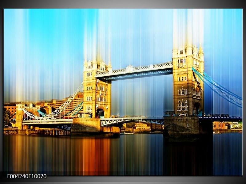 Glas schilderij London | Geel, Blauw, Grijs