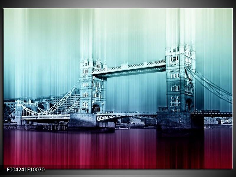 Glas schilderij London   Paars, Blauw, Grijs