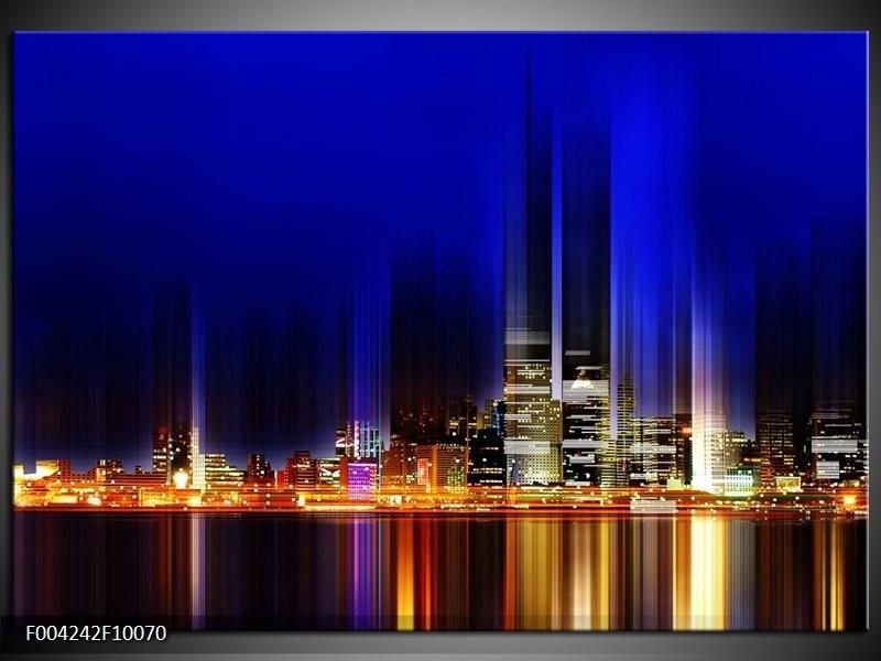 Foto canvas schilderij Modern | Blauw, Geel