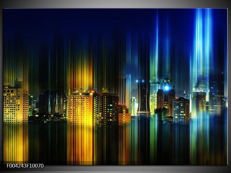 Foto canvas schilderij Modern   Blauw, Geel