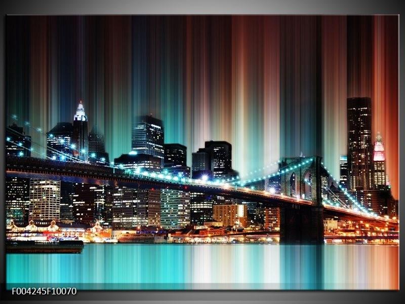 Glas schilderij Modern | Blauw, Geel, Zwart