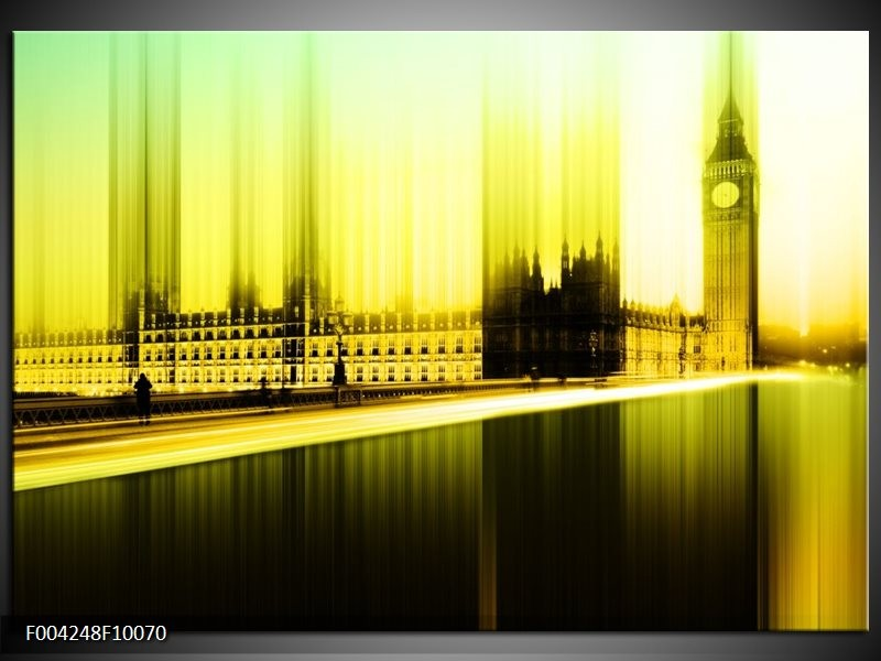 Glas schilderij Londen | Geel, Groen, Zwart
