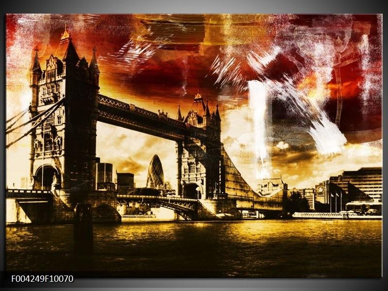 Glas schilderij Londen | Geel, Bruin, Zwart