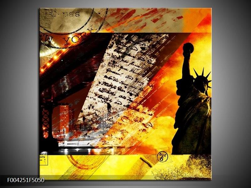 Canvas schilderij New York | Geel, Rood, Zwart | 50x50cm 1Luik