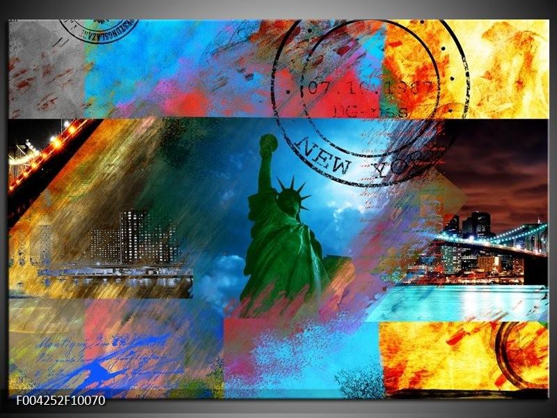 Glas schilderij New York | Blauw, Rood, Geel