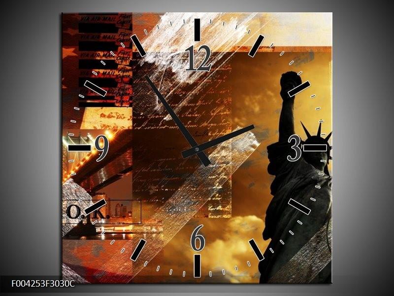 Wandklok op Canvas New York | Kleur: Bruin, Geel, Wit | F004253C