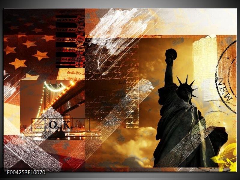 Glas schilderij New York | Bruin, Geel, Wit