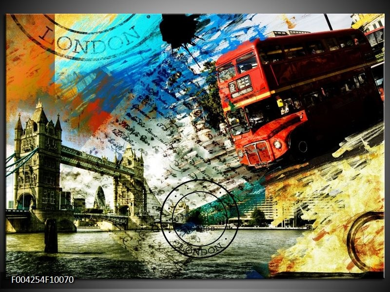 Foto canvas schilderij Engeland | Rood, Blauw, Geel