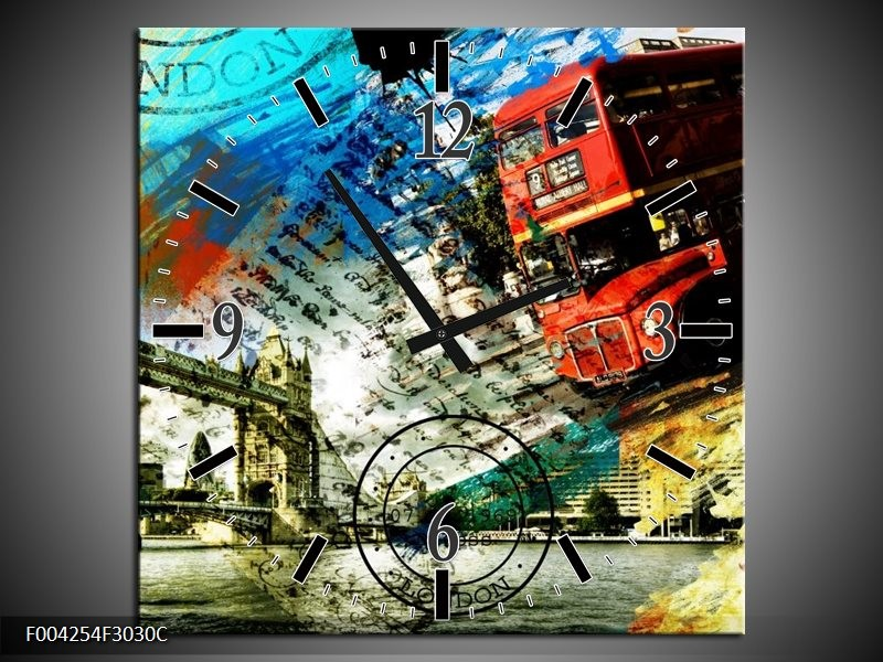 Wandklok op Canvas Engeland | Kleur: Rood, Blauw, Geel | F004254C