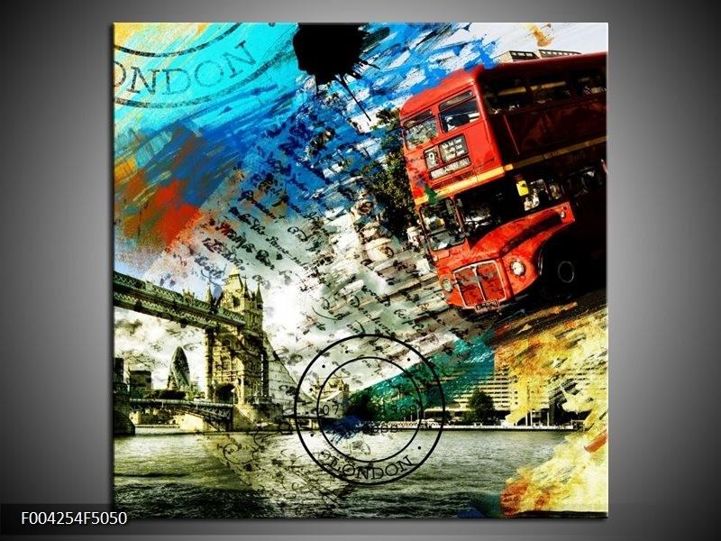 Canvas schilderij Engeland | Rood, Blauw, Geel | 50x50cm 1Luik
