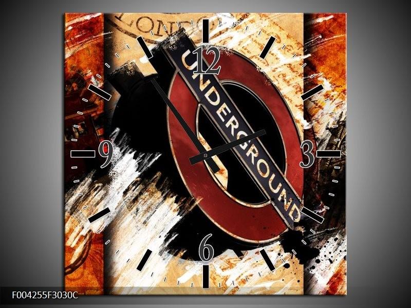 Wandklok op Canvas Engeland | Kleur: Rood, Geel, Oranje | F004255C