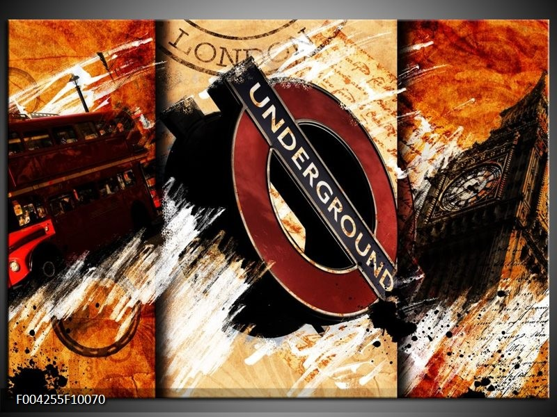 Glas schilderij Engeland | Rood, Geel, Oranje