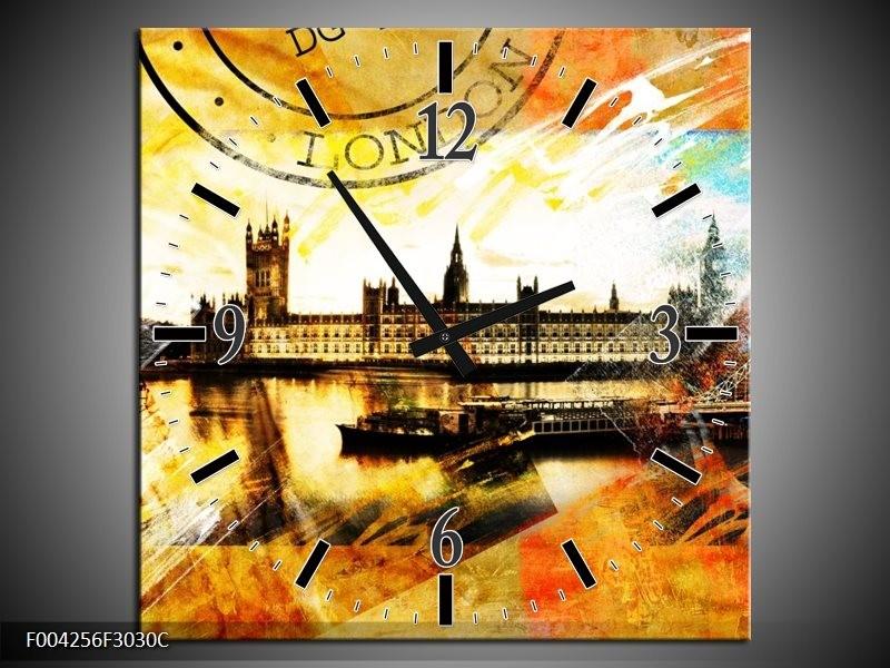 Wandklok op Canvas Engeland | Kleur: Geel, Wit, Bruin | F004256C