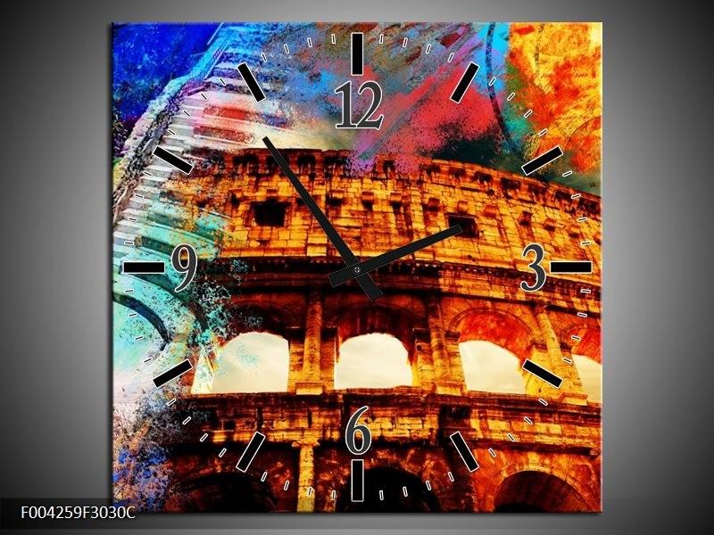 Wandklok op Canvas Rome | Kleur: Rood, Geel, Oranje | F004259C