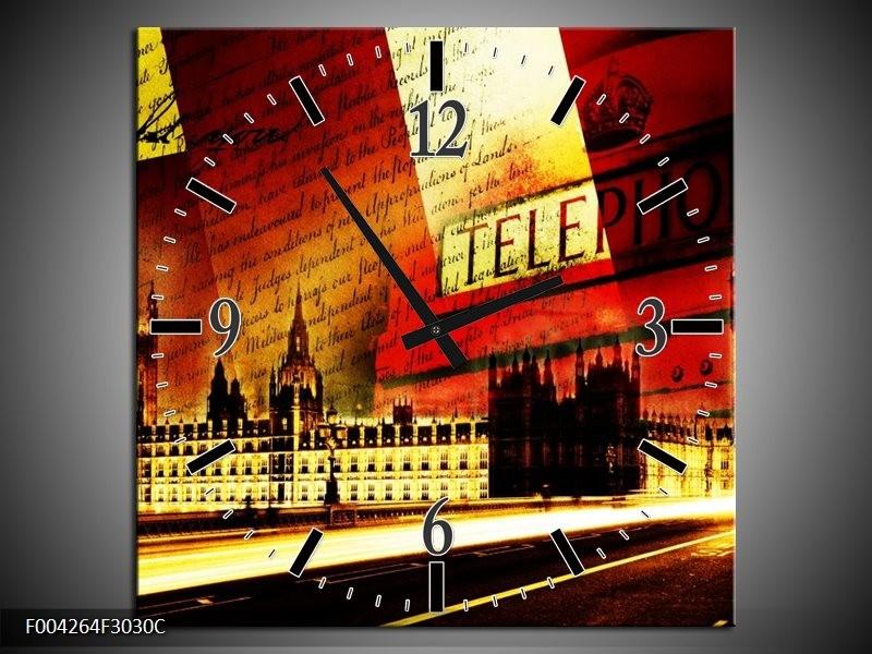 Wandklok op Canvas Modern   Kleur: Rood, Geel, Zwart   F004264C