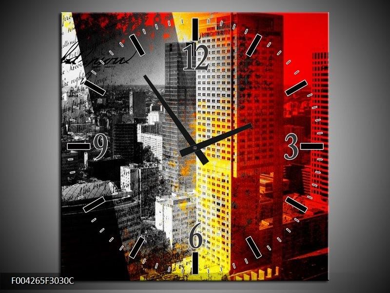 Wandklok op Canvas Modern | Kleur: Grijs, Rood, Zwart | F004265C