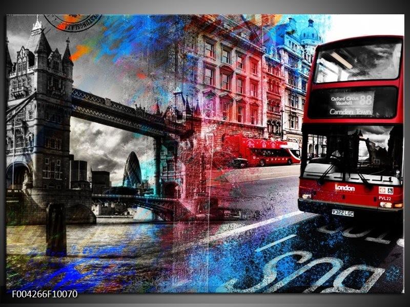 Glas schilderij Modern   Rood, Grijs, Blauw