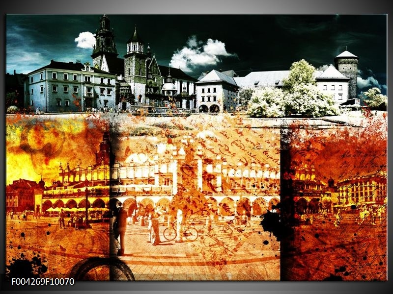 Glas schilderij Modern | Rood, Geel, Grijs