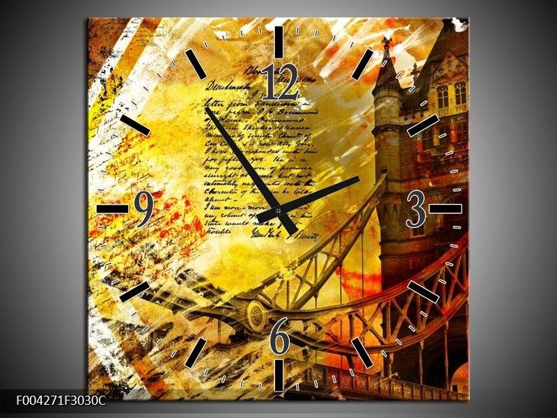 Wandklok op Canvas Modern | Kleur: Geel, Rood, Zwart | F004271C