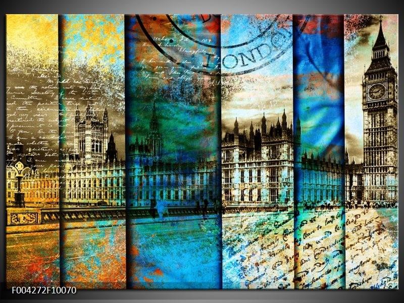 Foto canvas schilderij Modern | Blauw, Grijs, Geel