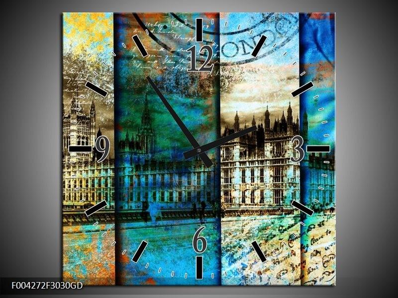 Wandklok op Glas Modern | Kleur: Blauw, Grijs, Geel | F004272CGD